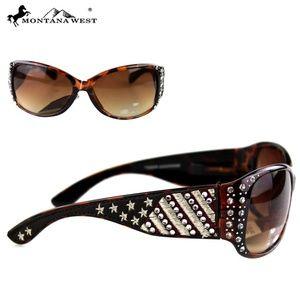 American Flag Rhinestone Sunglasses-Tortoise Shel